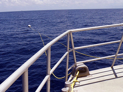 Ropes leading from the bow of a boat to a mooring buoy on the water's surface.