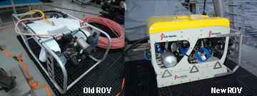 A composite picture showing an old ROV on the left and a new ROV on the right