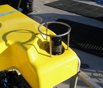 View of top right front corner of ROV showing sonar beacon