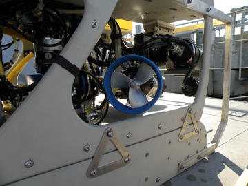 Side view of ROV showing thruster