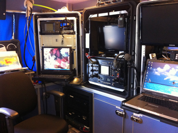 Displays and equipment set up on counter tops inside R/V MANTA