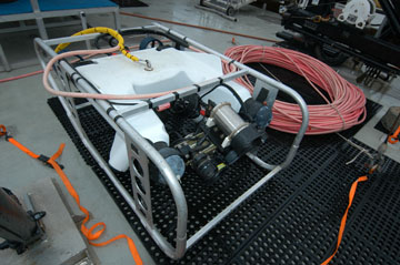 Remotely Operated Vehicle on sitting on the deck of a boat.