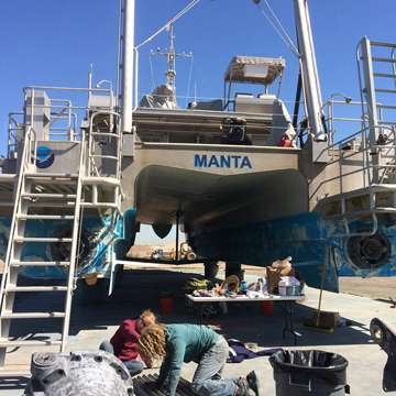 R/V MANTA up on blocks in the shipyard