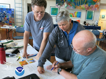 Two teachers and the instructor looking at graphs showing sea surface temperature on various coral reefs