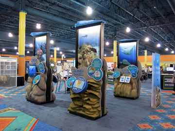 Reef on the Road exhibit on display in a conference exhibit hall