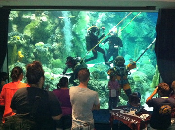 Divers in helmeted diving suits doing a demonstration in the Caribbean exhibit at Moody Gardens.