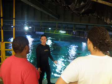 Two students looking out at the topside of the Caribbean exhibit at Moody Gardens as a staff person talks about it.