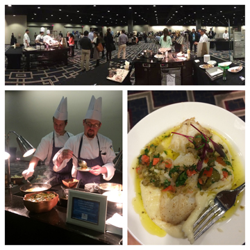 Three picture collage: A view of the celebrity cookoff area at the summit (top), a plated lionfish dish (bottom right), two chefs cooking and plating a lionfish dish (bottom left)