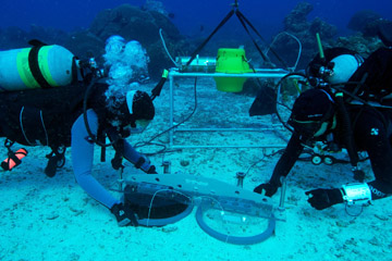 Two divers deplying a scientific instrument on the sea floor