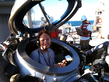 Emma in a one-person submersible before launch