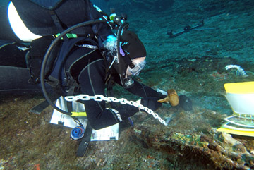 A diver hammering a metal pin into a rock on the sea floor