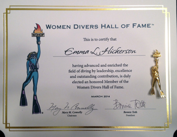Emma Hickerson's certificate of membership in the Women Divers Hall of Fame