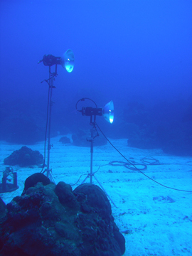Two flood lights on tripod stands perched on the sand flat in the middle of the coral reef.
