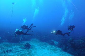 Four divers swimming above coral reef and sand flat to reset a piece of equipment. Two divers are carrying the water quality instrument, while two more divers follow with camera equipment.
