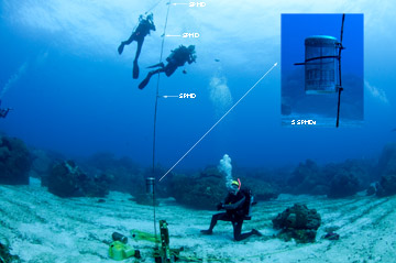 A buoy line attached to equipment on the sea floor, floats vertically with several pieces of equipment attached.  Divers hover nearby while working on the equipment.  Labels and arrows identify two different types of equipment attached to the line.