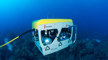 ROV crusing over a coral reef