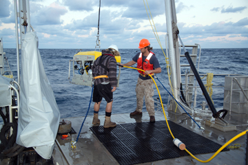 Two people launching the ROV from the back deck of a boat.