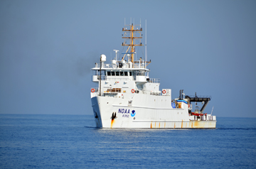NOAA ship Nancy Foster on a smooth sea in the Gulf of Mexico