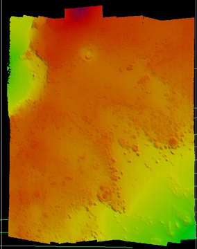 Color seafloor image created using sonar. Shallowest areas are orange, with deeper areas yellow, then green.