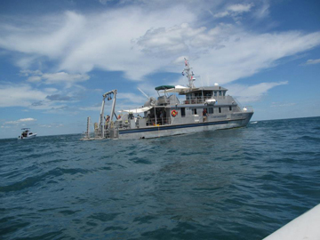 R/V Manta as seen from another boat at the wreck site.