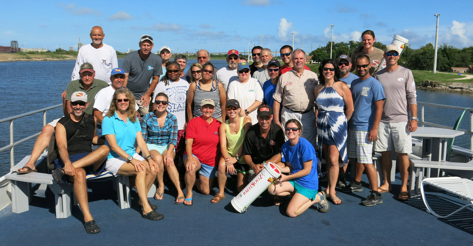 Group photo of participants from the 2015 Lionfish Invitational on the top deck of M/V Fling