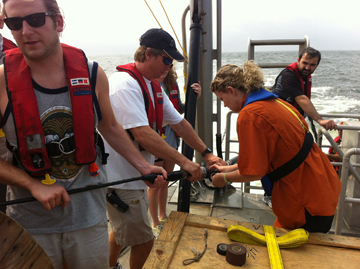 Students deploying a piece of equipment from the deck of R/V MANTA
