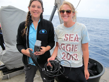 Marissa Nuttal and a Texas A&M student posing on the deck of R/V MANTA.