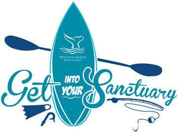 Get Into Your Sanctuary logo with surfboard, fishing pole, fin, snorkel and paddle