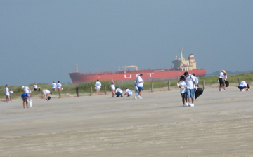 People cleaning a beach with a ship passing by in the background.