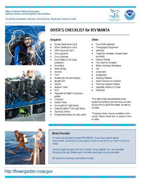 Image of Diver Checklist document