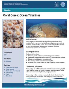 Front page of Coral Cores  lesson