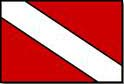 A red flag with a white diagonal stripe running from top left to bottom right.