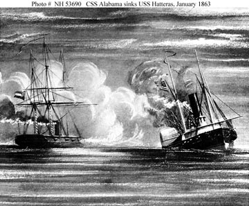 Black and white sketch of the battle between USS Hatteras and CSS Alabama