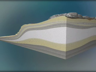 Drawing showing layers of sediment pushed up into a dome shape.