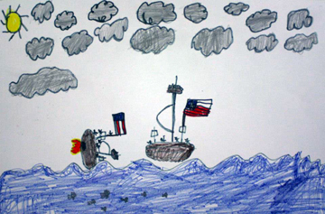 Student drawing of the CSS Alabama sinking USS Hatteras.