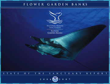 Cover image from the State of the Sanctuary Report, which includes a photo of a manta ray.