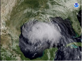 Satellite image showing Hurricane Ike's rotating cloud cover over Gulf of Mexico as it approaches the Texas coast.