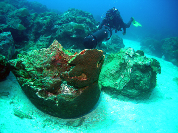 A large boulder of brain coral lies upside down in the sand.  A diver with an underwater scooter hovers just above and to the right of the boulder.