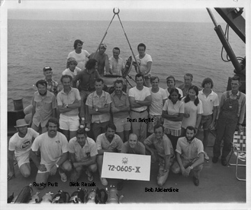 Researchers on the deck of a ship in the Gulf of Mexico in 1972