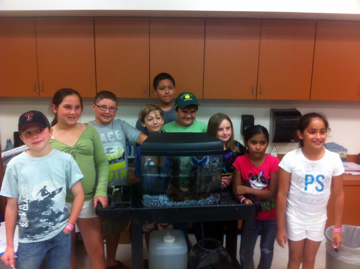 A group of 9 students gathered around a small aquarium housing a lionfish