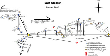 Sample pin map from the east end of Stetson Bank