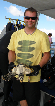 A man holding a sea turtle ready for release