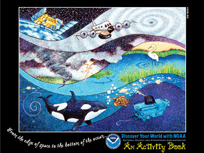 Cover image of activity book showing wavy layers with a satellite, a space shuttle, a tornado, a heron in a marsh, an orca, sea turlte and fish, and a submersible
