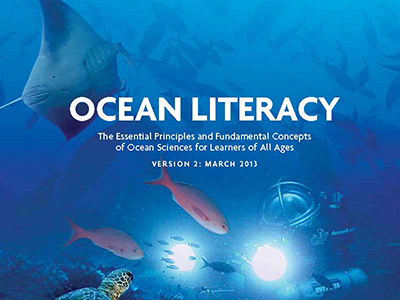 The words Ocean Literacy: The Essential Principles and Fundamental Concepts of Ocean Sciences for Learners of All Ages on a background of an ocean scene with a manta ray, colorful fish, a sea turlte and a submersible.