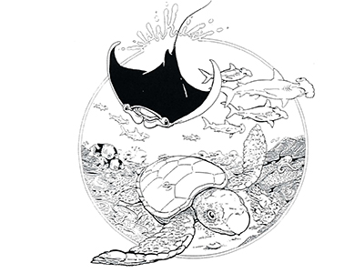 Black & white line drawing of reef creatures within a circle with water droplets splashing out the top