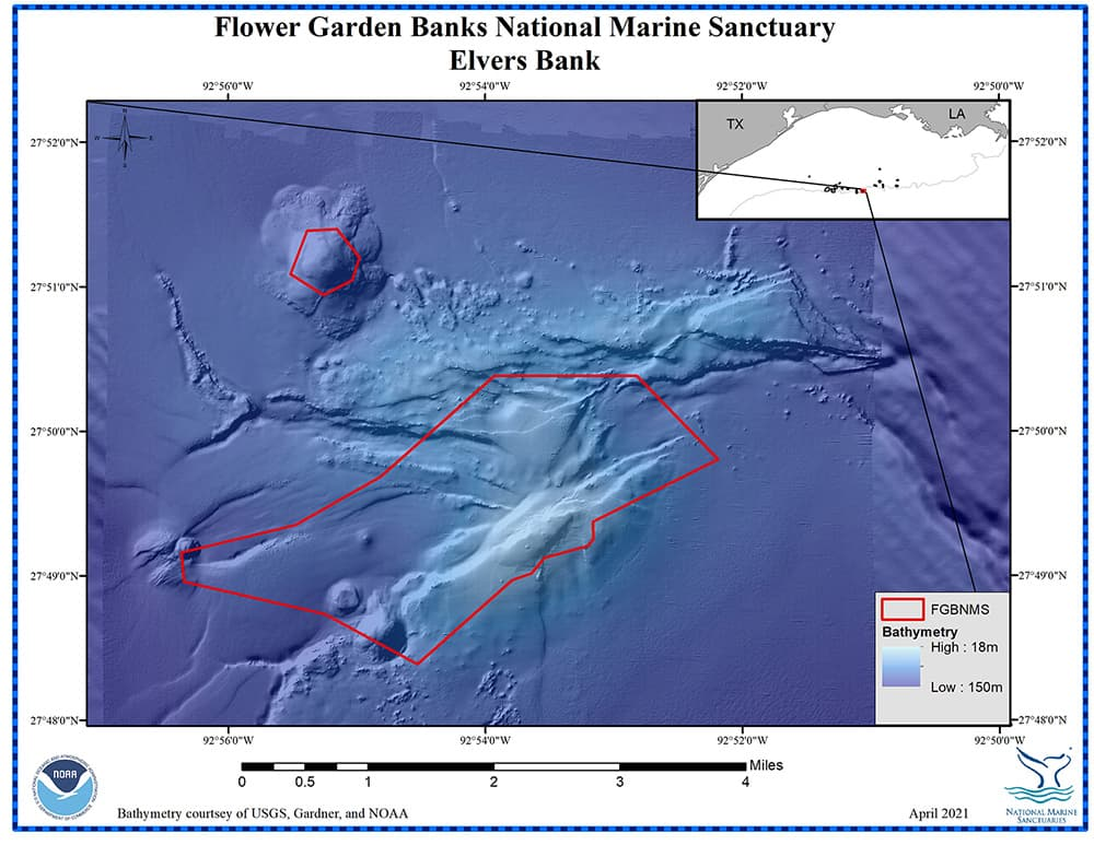 Color bathymetric map of Elvers Bank