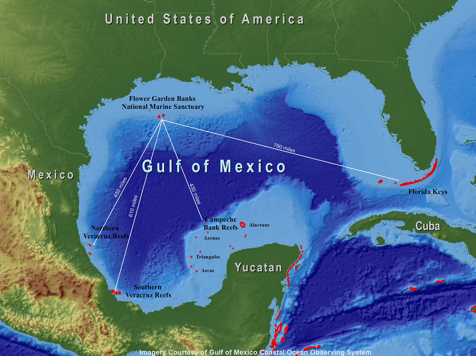 gulf of mexico map showing distances from fgbnms to nearest coral reefs in mexico cuba