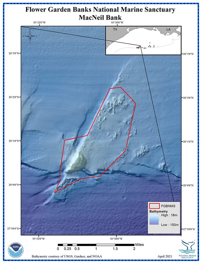 Color bathymetric map of MacNeil Bank