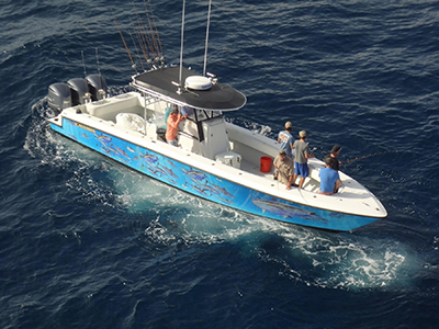 Aerial view of a fishing boat with 7 people on board fishing and painted images of fish on the sides of the boat