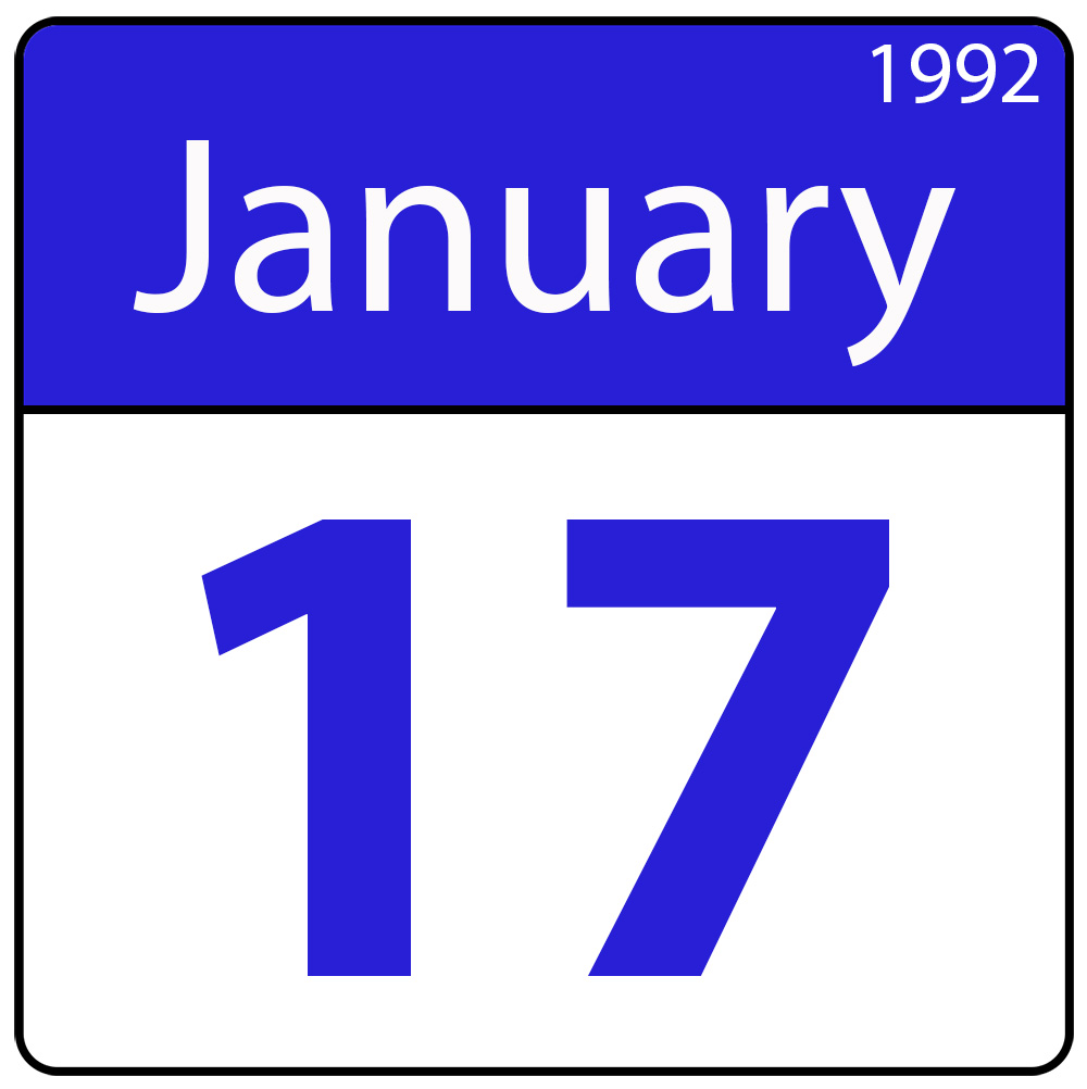 Single day calendar page for January 17, 1992